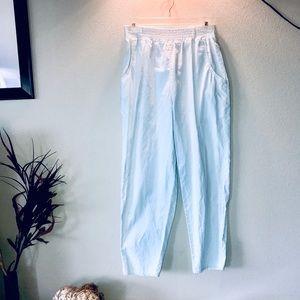 Vintage 80's mint/white boho seersucker capris
